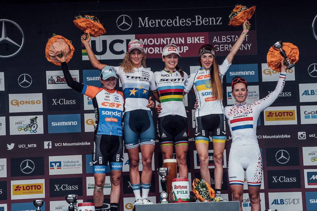 Anne Tauber, Jolanda Neff, Kate Courtney, Yana Belomoina, Anne Terpstra stand on the podium at UCI XCO World Cup in Albstadt, Germany on May 19th, 2019