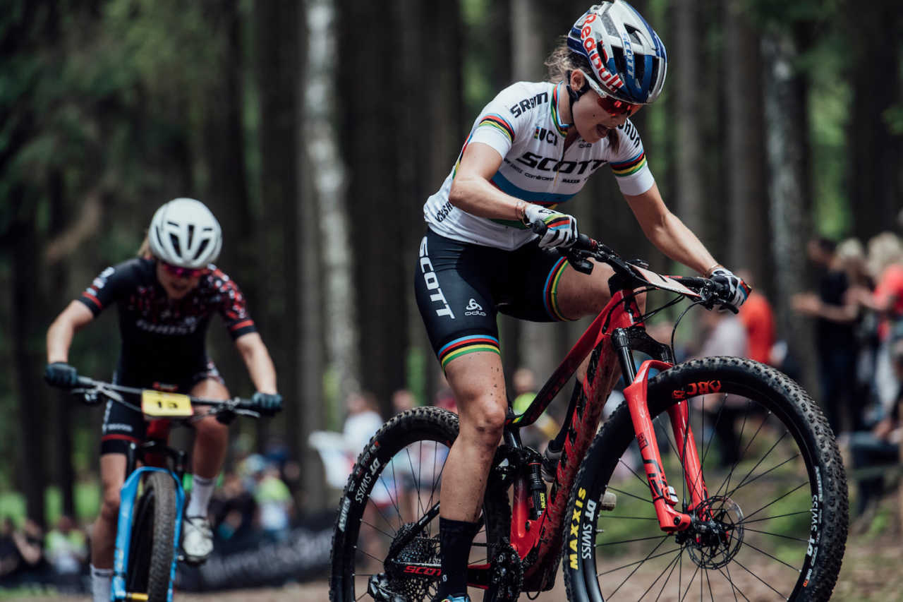 Kate Courtney performs at UCI XCO World Cup in Nove Mesto na Morave, Czech Republic on May 26th, 2019