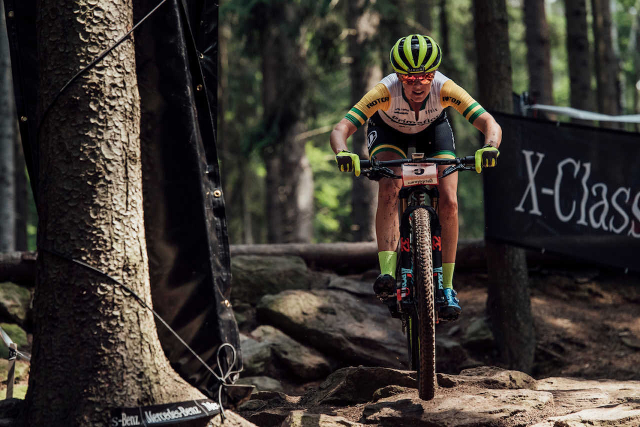 Rebecca McConnell performs at UCI XCO World Cup in Nove Mesto na Morave, Czech Republic on May 26th, 2019