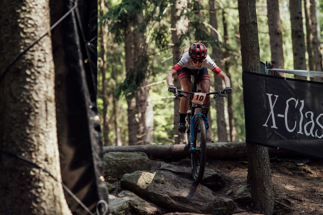 Haley Smith performs at UCI XCO World Cup in Nove Mesto na Morave, Czech Republic on May 26th, 2019 /