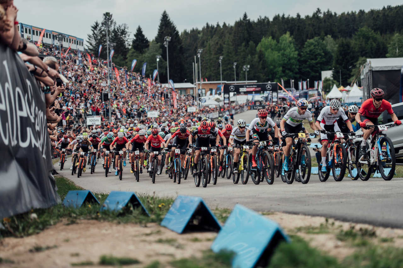Competitors perform at UCI XCO World Cup in Nove Mesto na Morave, Czech Republic on May 26th, 2019