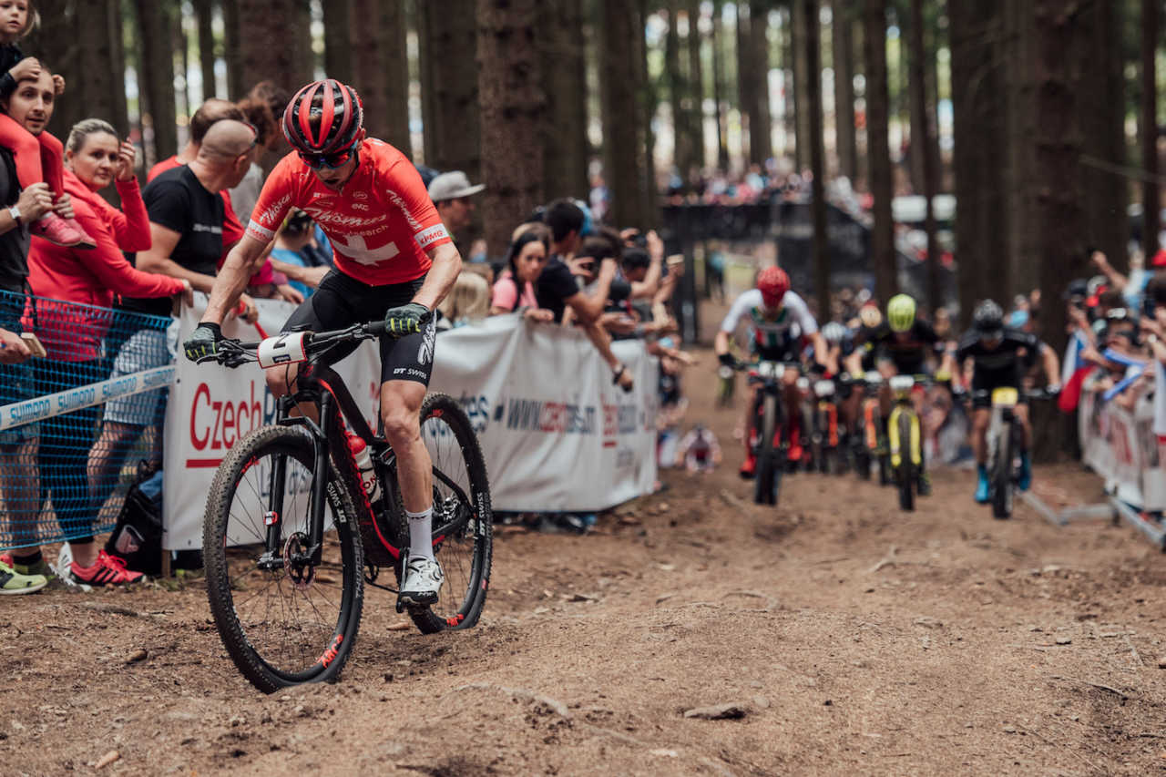 Mathias Flueckiger performs at UCI XCO World Cup in Nove Mesto na Morave, Czech Republic on May 26th, 2019 /