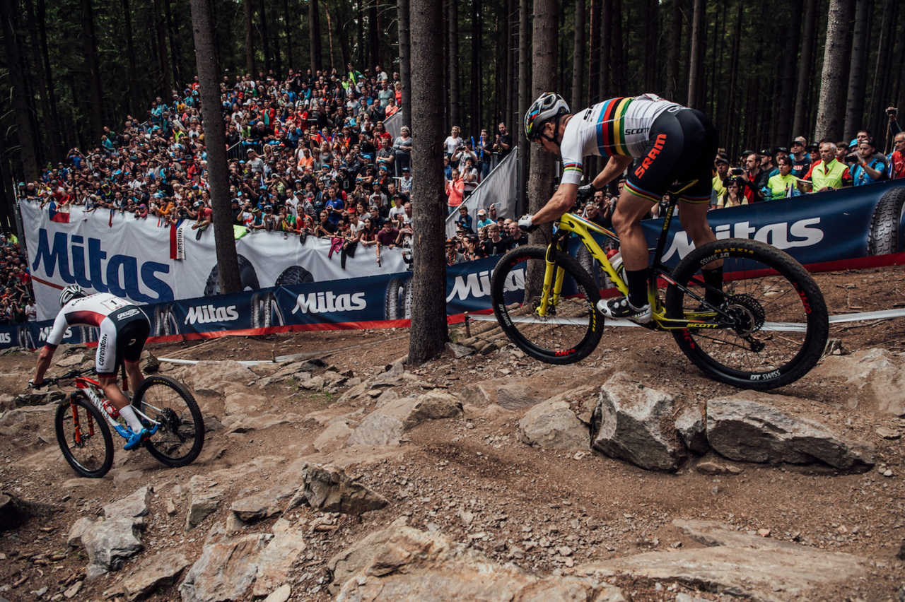 Mathieu Van der Poel and Nino Schurter perform at UCI XCO World Cup in Nove Mesto na Morave, Czech Republic on May 26th, 2019