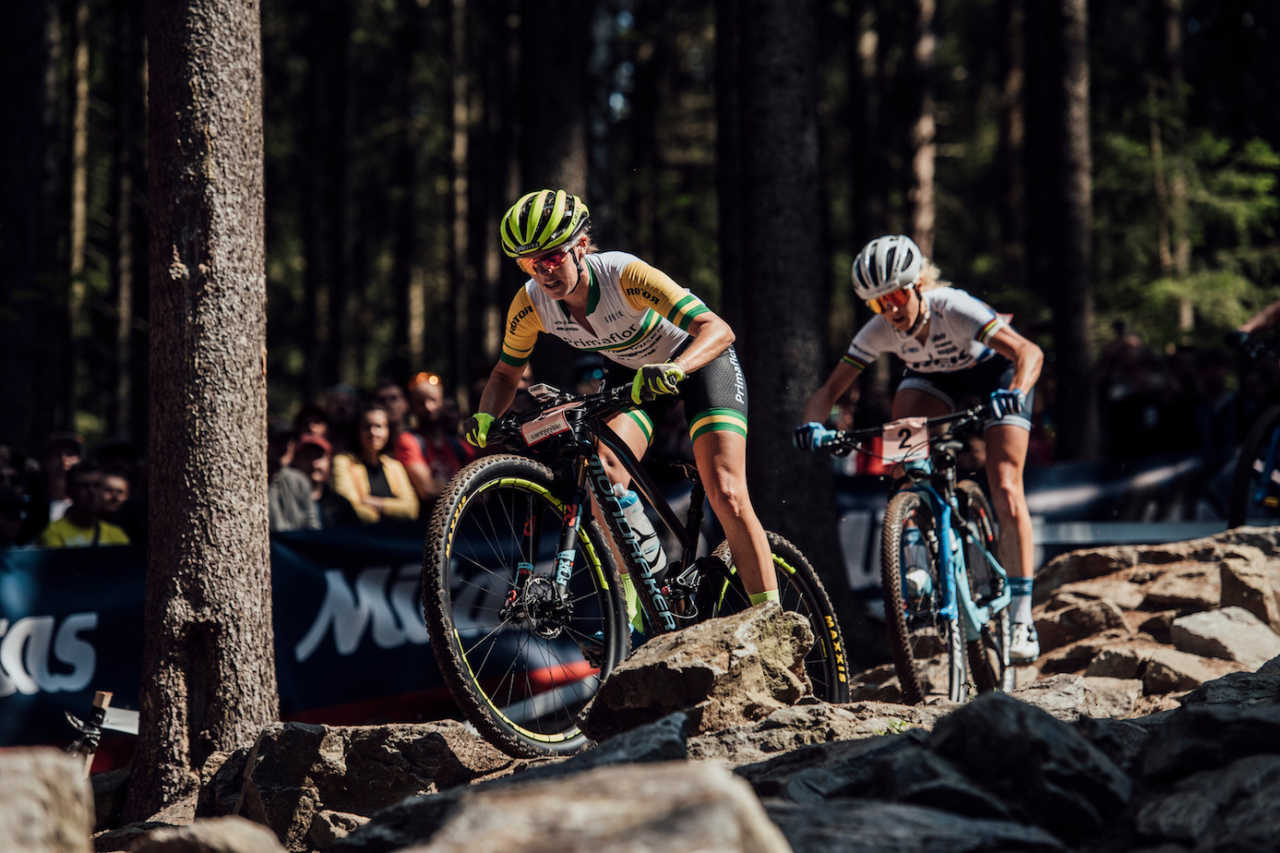 Rebecca McConnell performs at UCI XCO World Cup in Nove Mesto na Morave, Czech Republic on May 26th, 2019 /