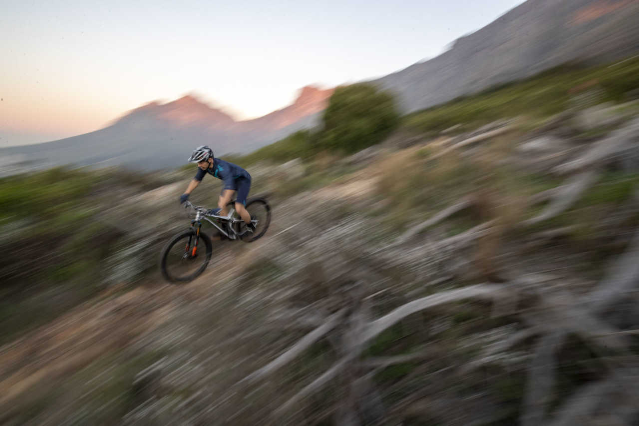 CAPE TOWN - 9 May 2019 - Gary Barnard on Fork Offset during Bike Network photoshoot on Table Mountain & Signal Hill. Photo by Gary Perkin