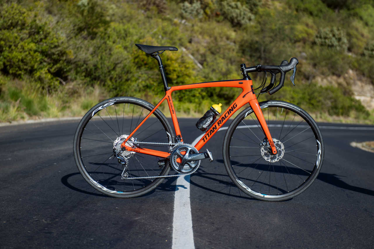 Titan Racing Valerian Pro road bike with Shimano Ultegra Discs on test for Bike Network in Cape Town South Africa.