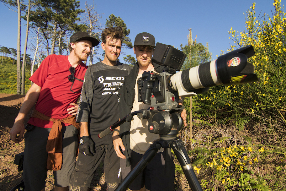 Brendan Fairclough on location shooting for A Dog's Life with Scott Bikes with Clay Porter and Chris Seager.