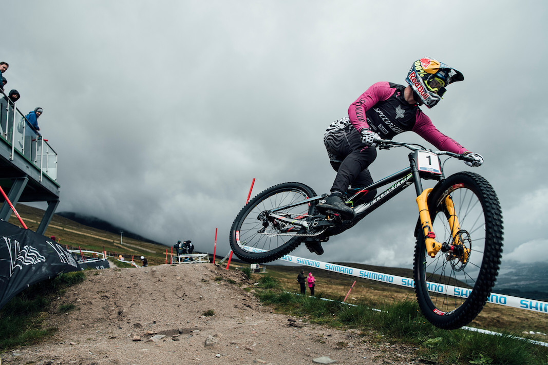 Loic Bruni performs at UCI DH World Cup in Fort William, Great Britain on June 2nd, 2019