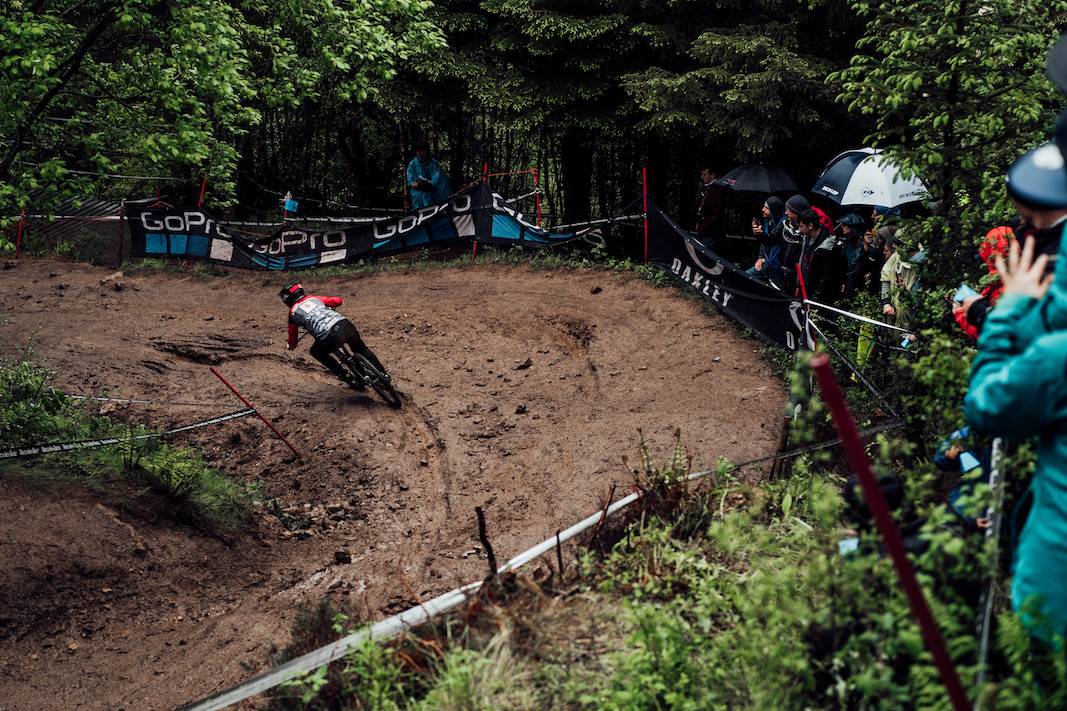 Nina Hoffmann performs at UCI DH World Cup in Fort William, Great Britain on June 2nd, 2019
