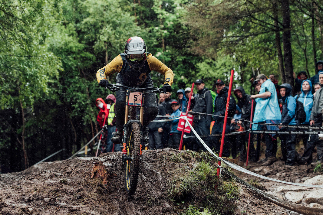 Marine Cabirou performs at UCI DH World Cup in Fort William, Great Britain on June 2nd, 2019