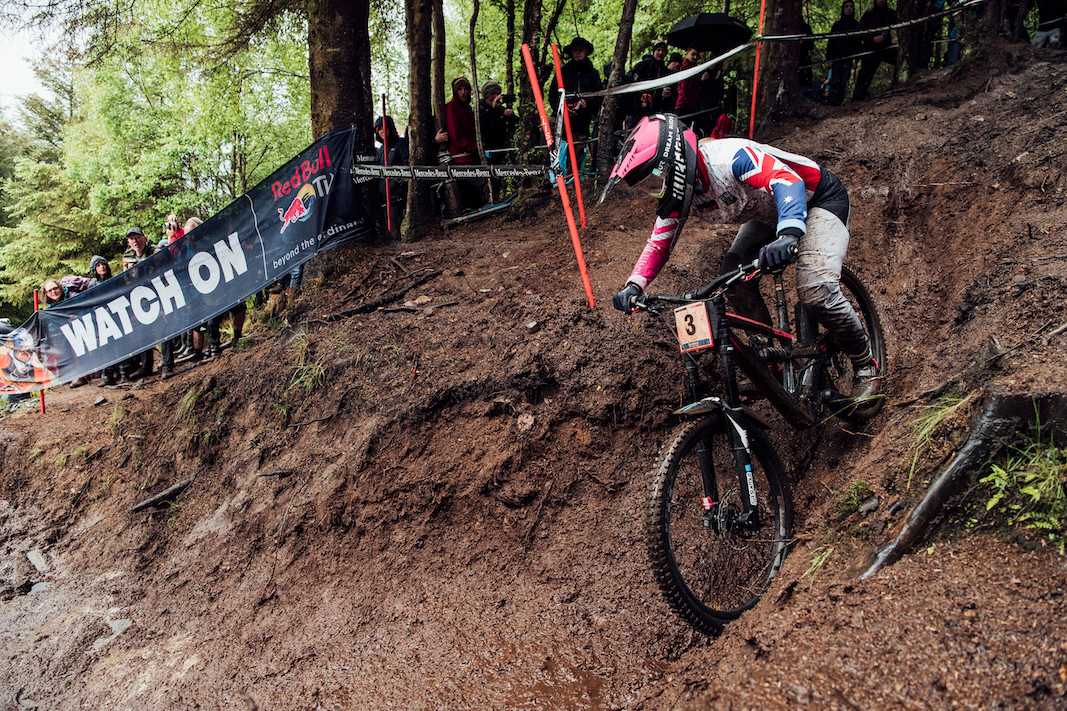 Tracey Hannah performs at UCI DH World Cup in Fort William, Great Britain on June 2nd, 2019