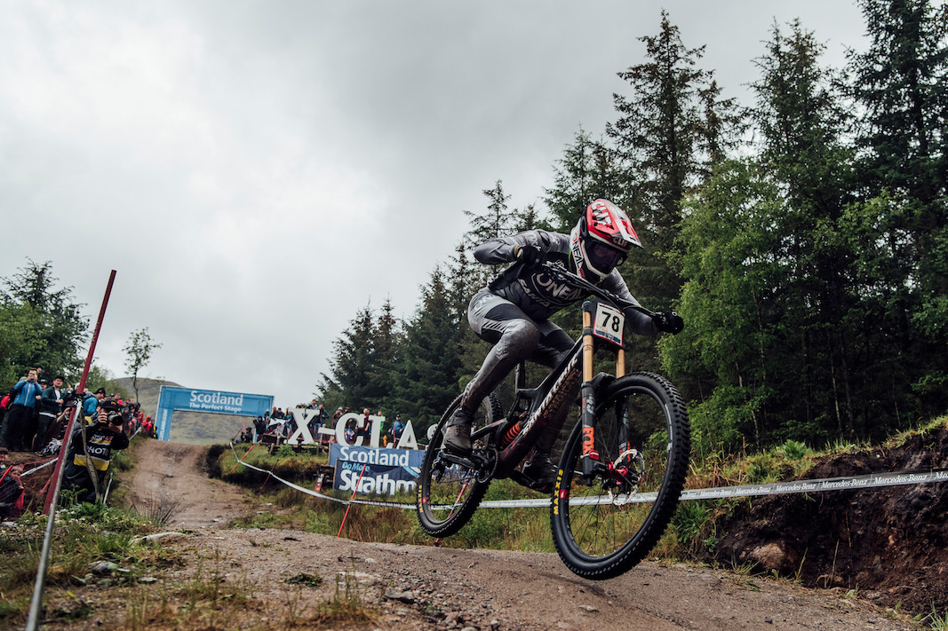 Greg Minnaar performs at UCI DH World Cup in Fort William, Great Britain on June 2nd, 2019