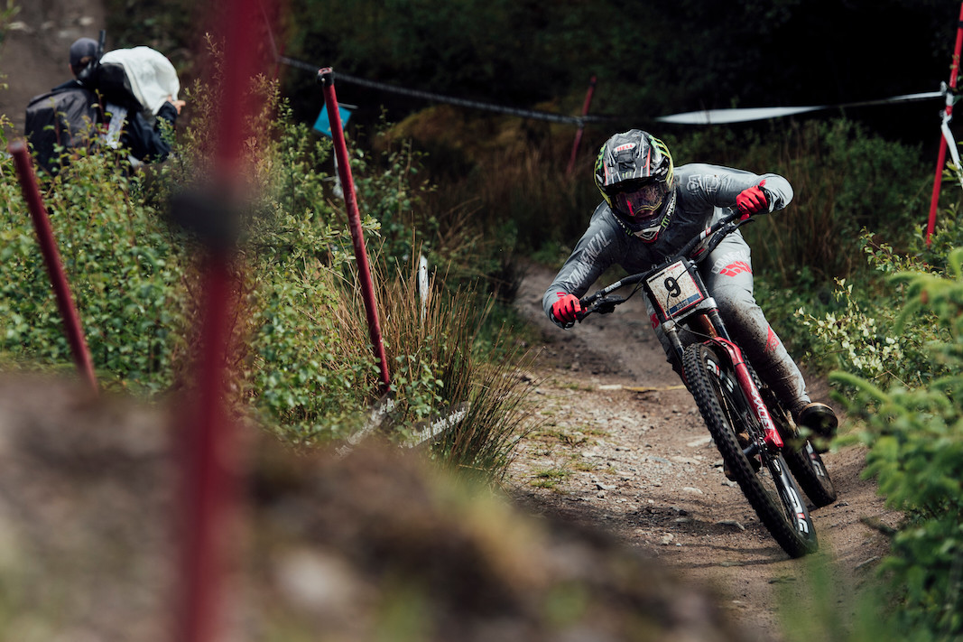 Amaury Pierron performs at UCI DH World Cup in Fort William, Great Britain on June 2nd, 2019 //