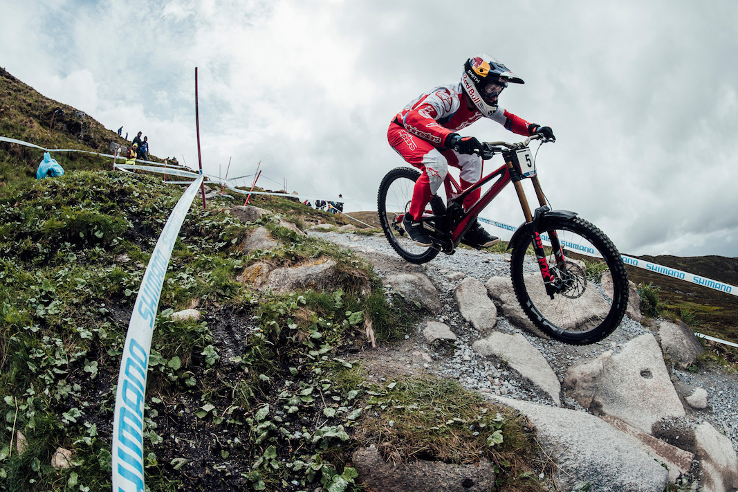 Aaron Gwin performs at UCI DH World Cup in Fort William, Great Britain on June 2nd, 2019