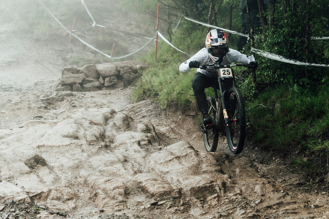 Finn Iles performs at UCI DH World Cup in Fort William, Great Britain on June 2nd, 2019