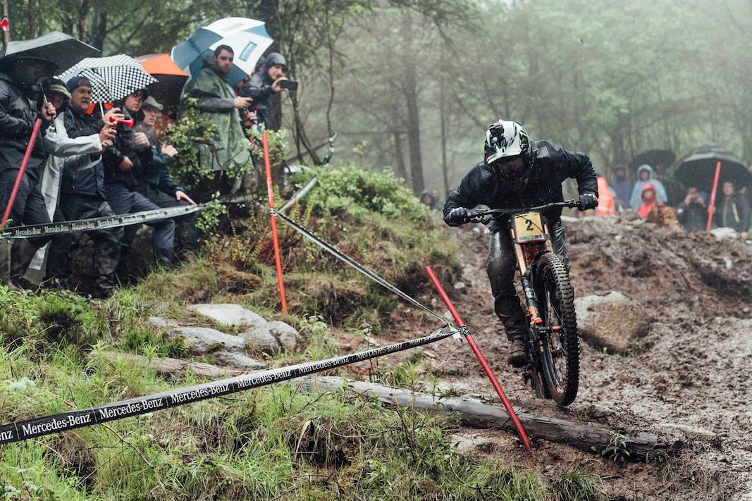 Danny Hart performs at UCI DH World Cup in Fort William, Great Britain on June 2nd, 2019