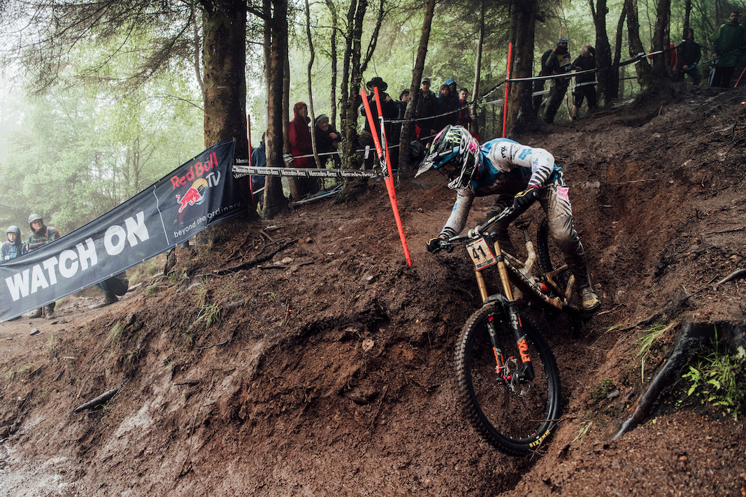 Loris Vergier performs at UCI DH World Cup in Fort William, Great Britain on June 2nd, 2019