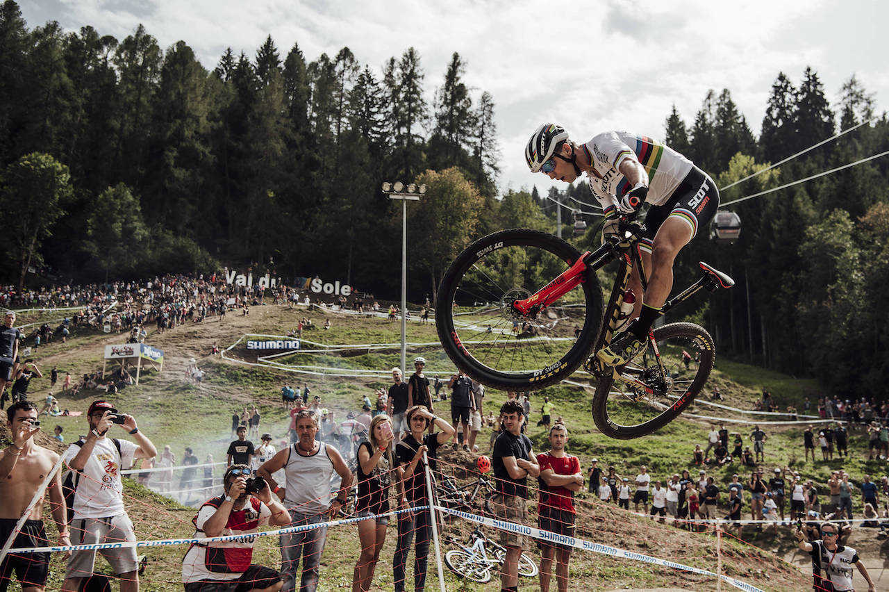 Nino Schurter performs at the UCI XCO World Championships in Lenzerheide on September 8th, 2018