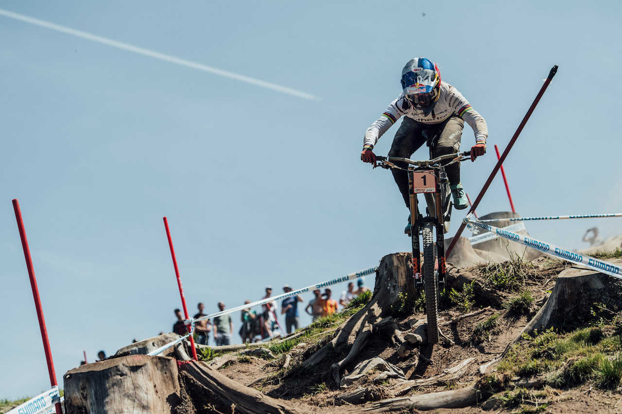 Rachel Atherton performs at UCI DH World Cup in Leogang, Austria on June 9th, 2019