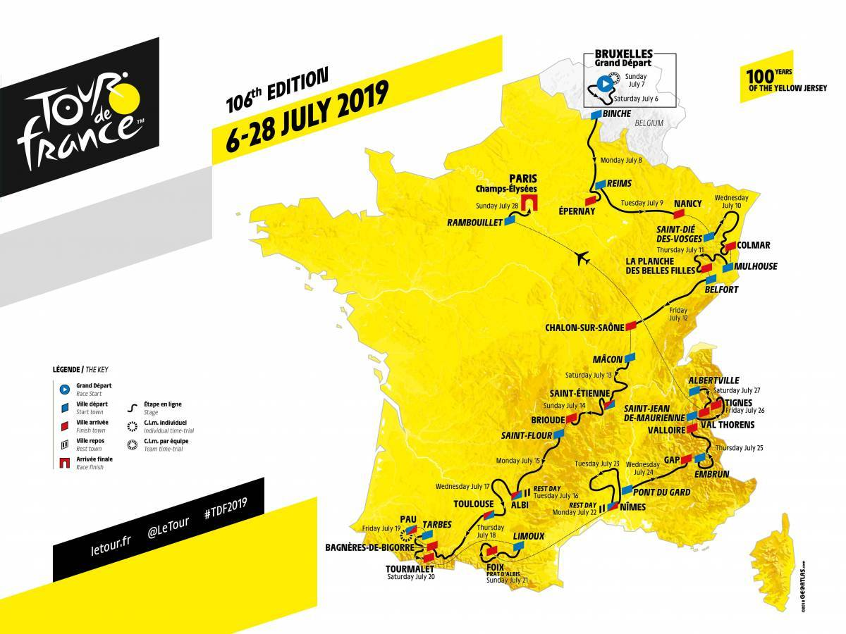 2019 Tour de France route map.