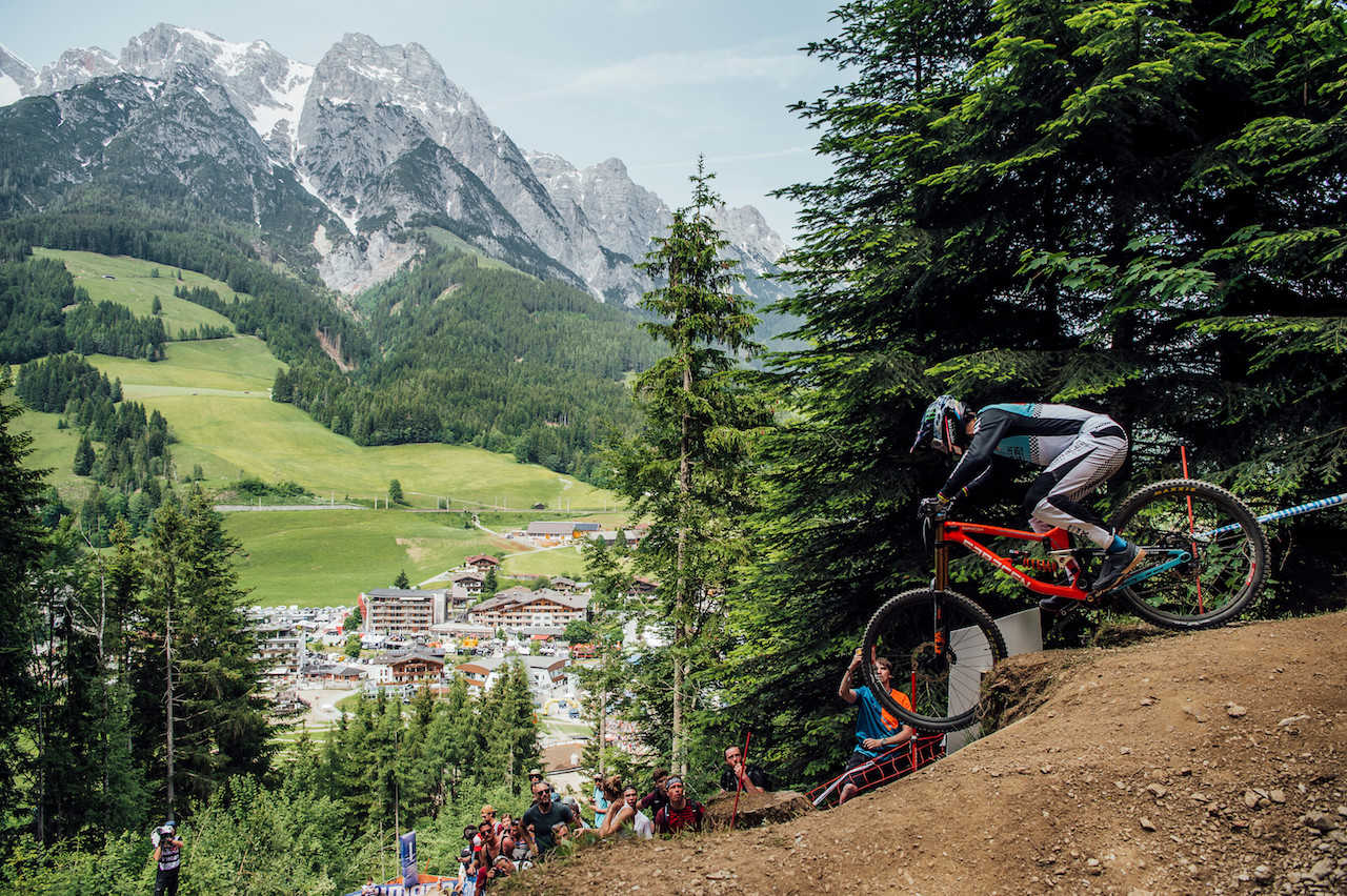 Danny Hart performs at UCI DH World Cup in Leogang, Austria on June 9th, 2019 /