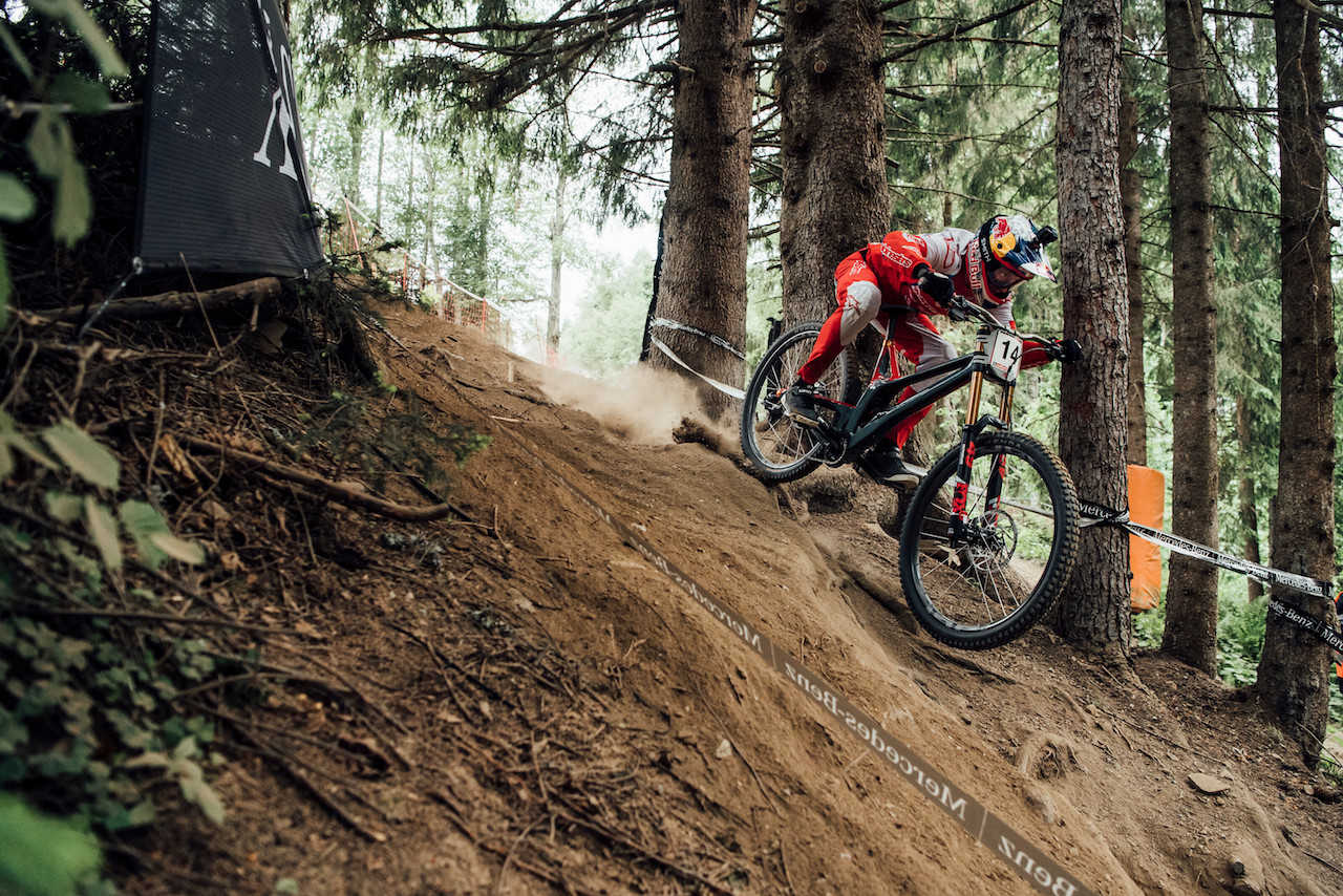 Aaron Gwin performs at UCI DH World Cup in Leogang, Austria on June 9th, 2019 //