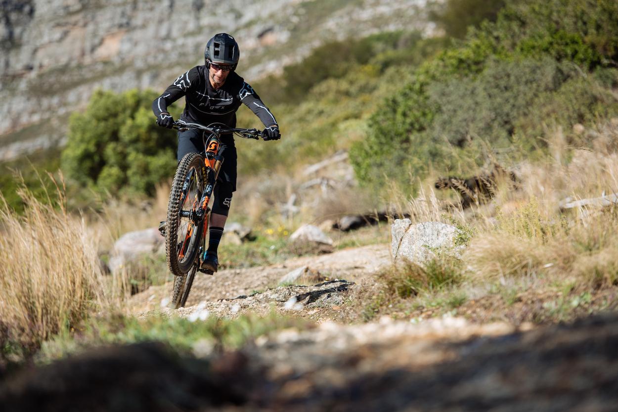 FOX Dropframe helmet test with Bike Network, Wayne Reiche, Myles Kelsey on Table Mountain in July 2019.
