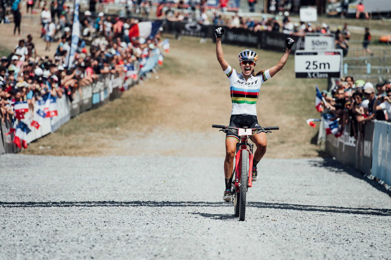 Kate Courtney at the Les Gets World Cup cross country mountain bike race in France on 14th July 2019.