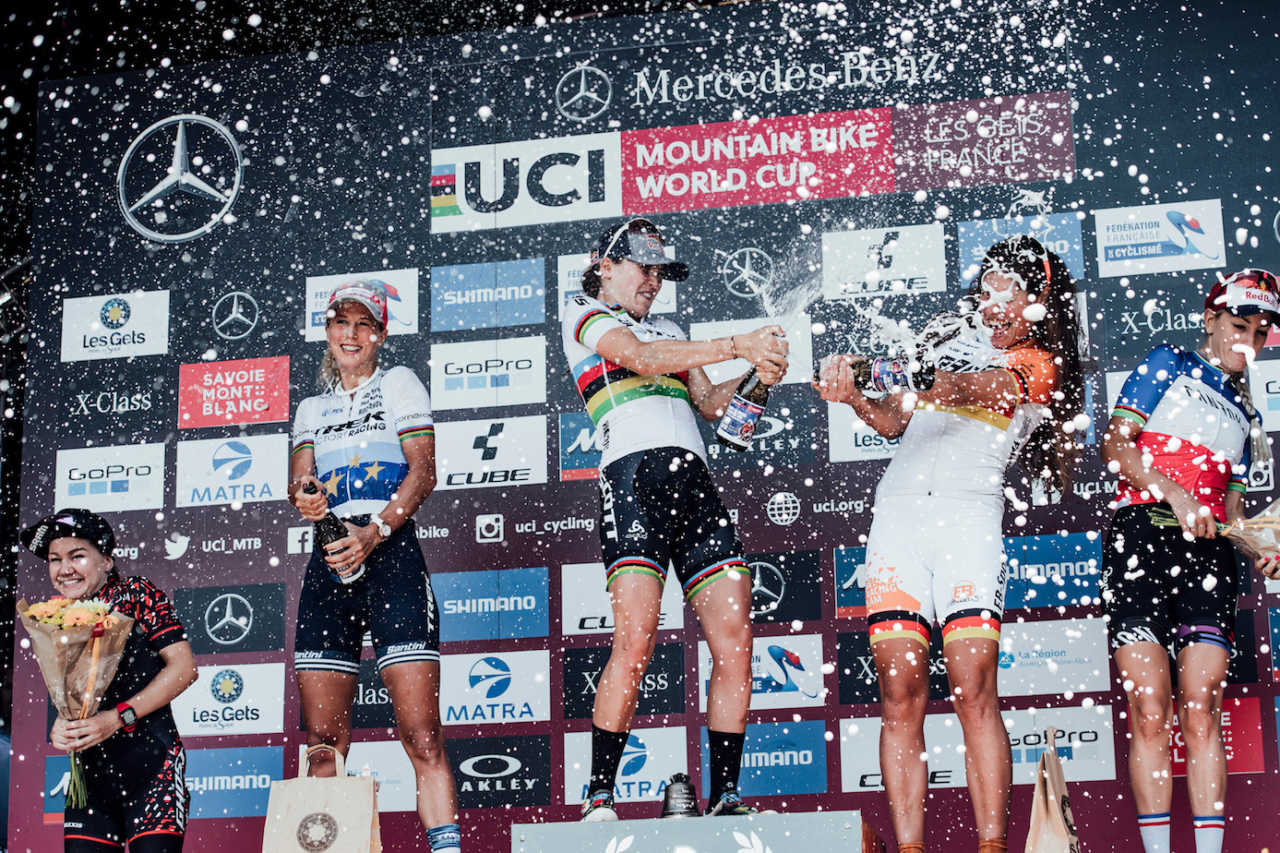Womens podium at the Les Gets World Cup cross country mountain bike race in France on 14th July 2019.