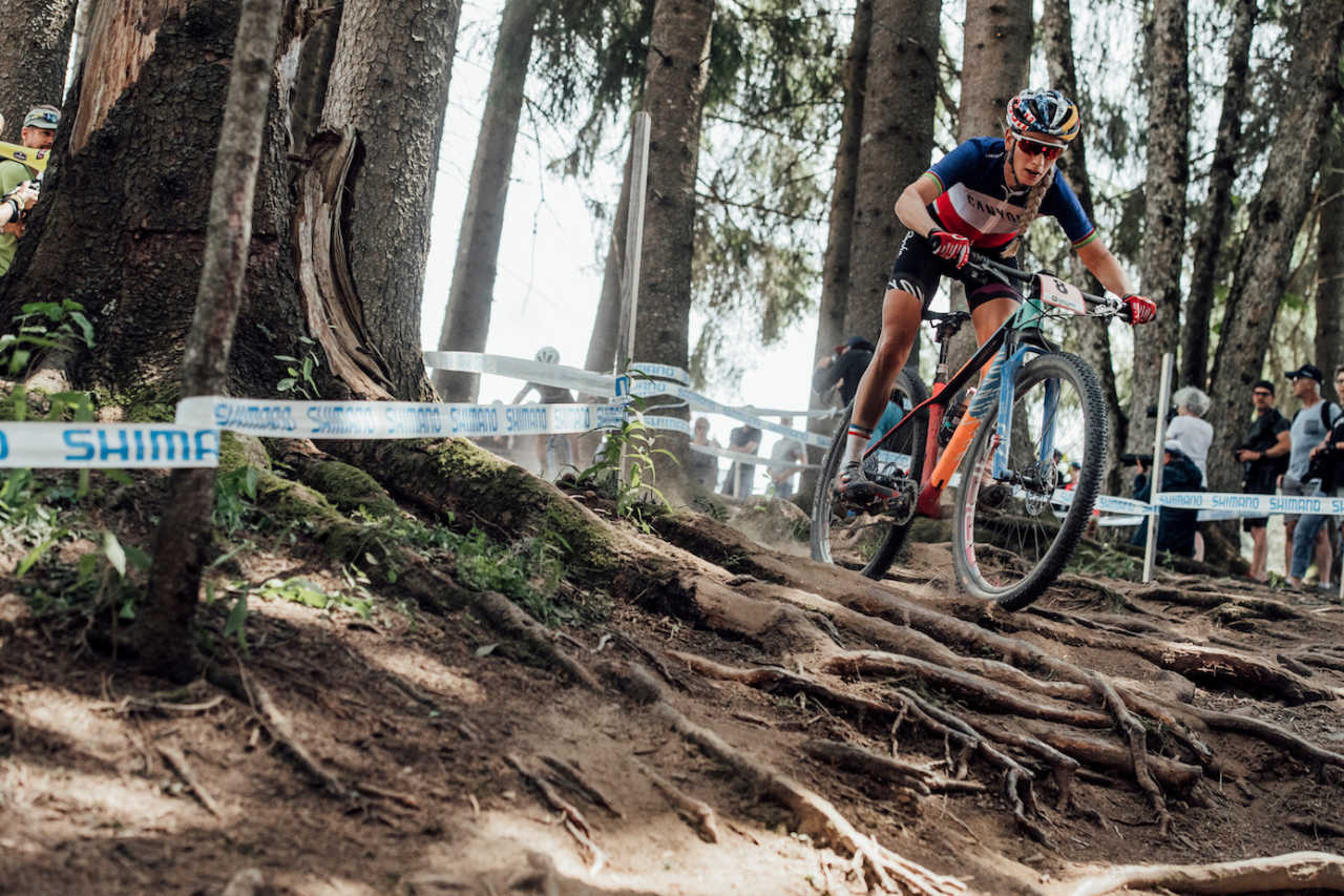 Pauline Ferrand Prevot at the Les Gets World Cup cross country mountain bike race in France on 14th July 2019.