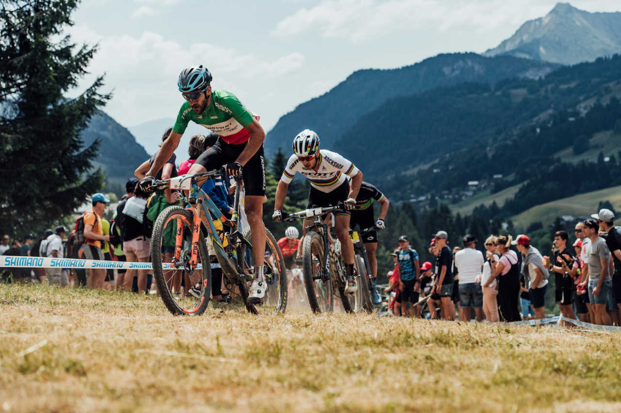 Gerhard Kerschbaumer at the Les Gets World Cup cross country mountain bike race in France on 14th July 2019.