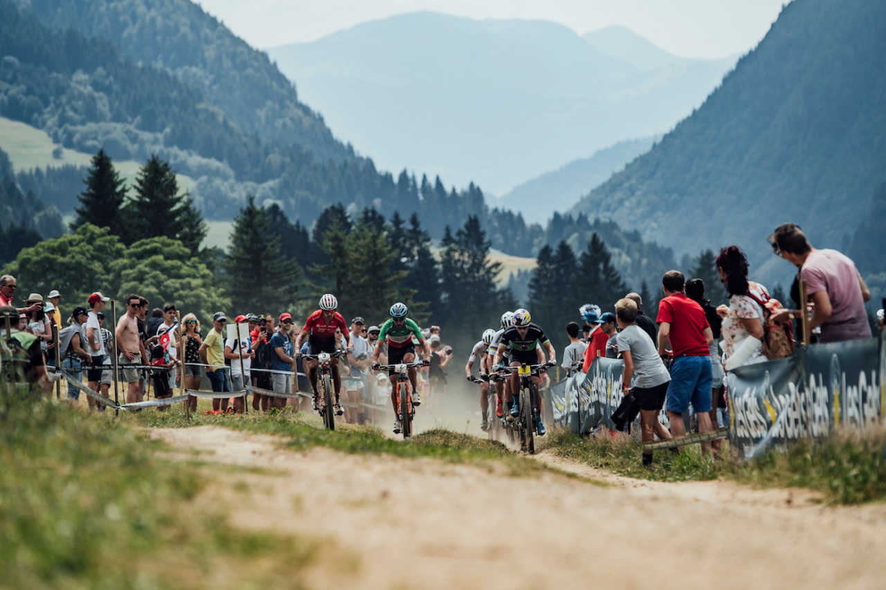 Mens race at the Les Gets World Cup cross country mountain bike race in France on 14th July 2019.