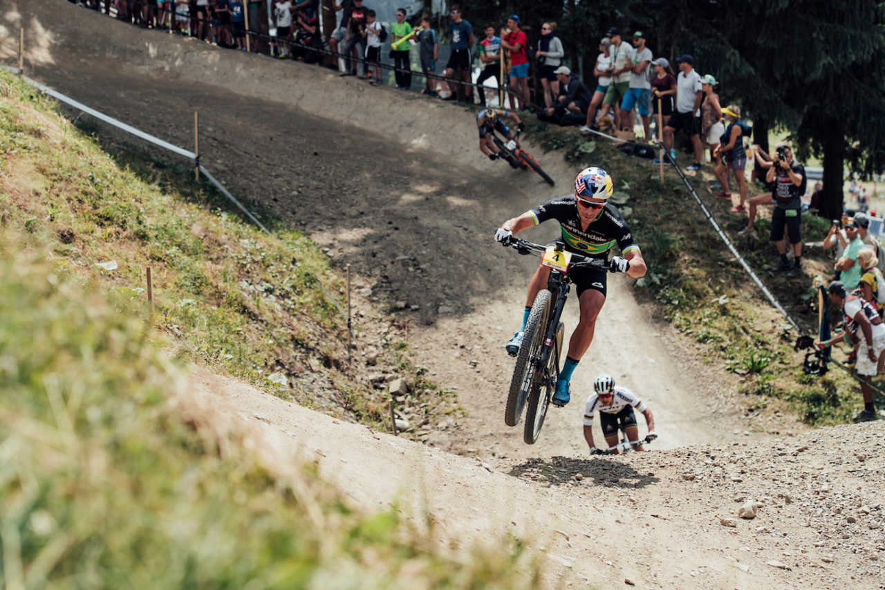 Avancini at the Les Gets World Cup cross country mountain bike race in France on 14th July 2019.
