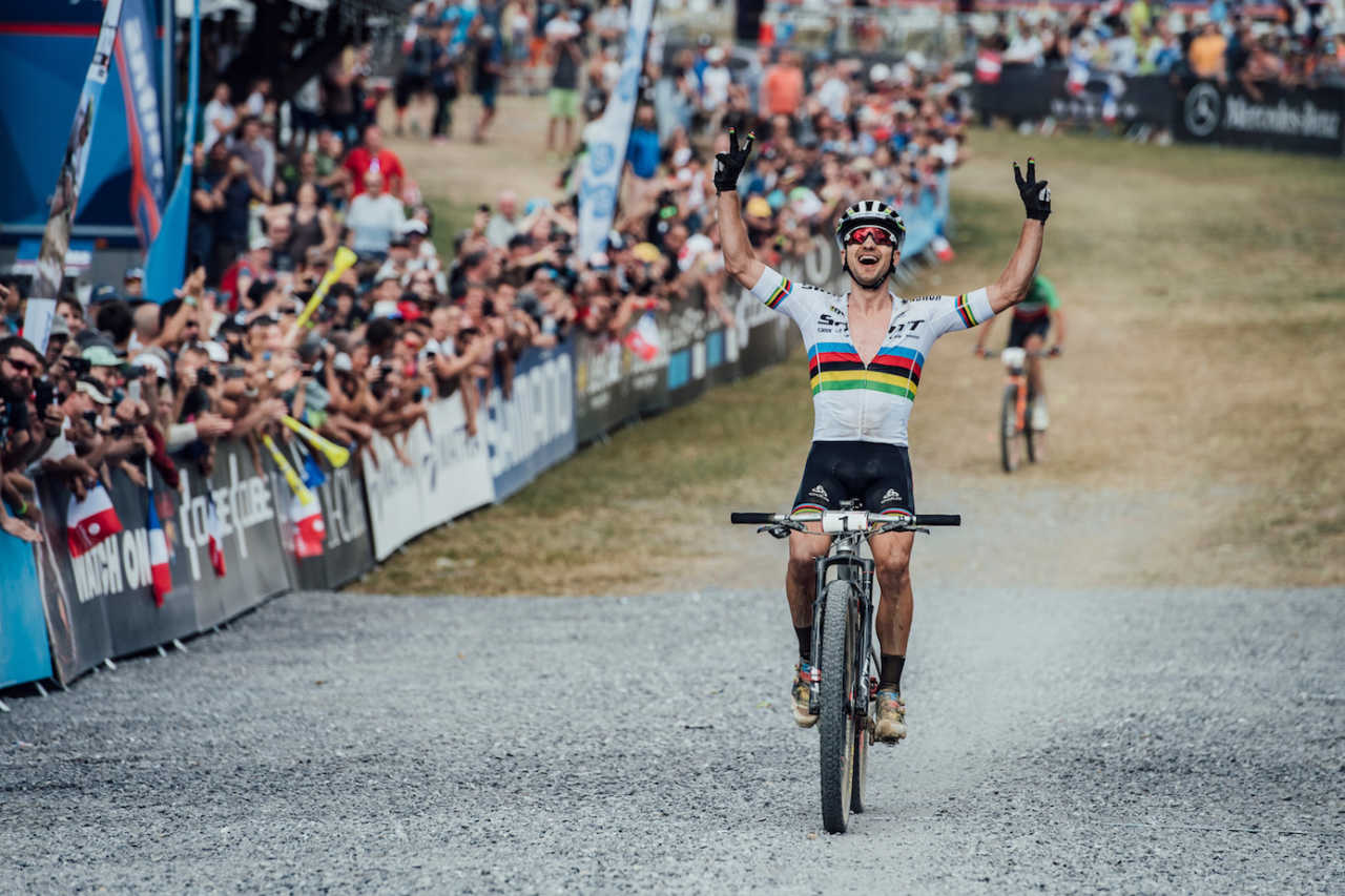Schurter at the Les Gets World Cup cross country mountain bike race in France on 14th July 2019.