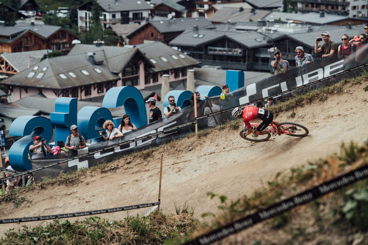 Ondrej Cink at the Les Gets World Cup cross country mountain bike race in France on 14th July 2019.
