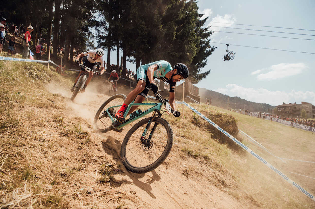 Tempier at the Les Gets World Cup cross country mountain bike race in France on 14th July 2019.