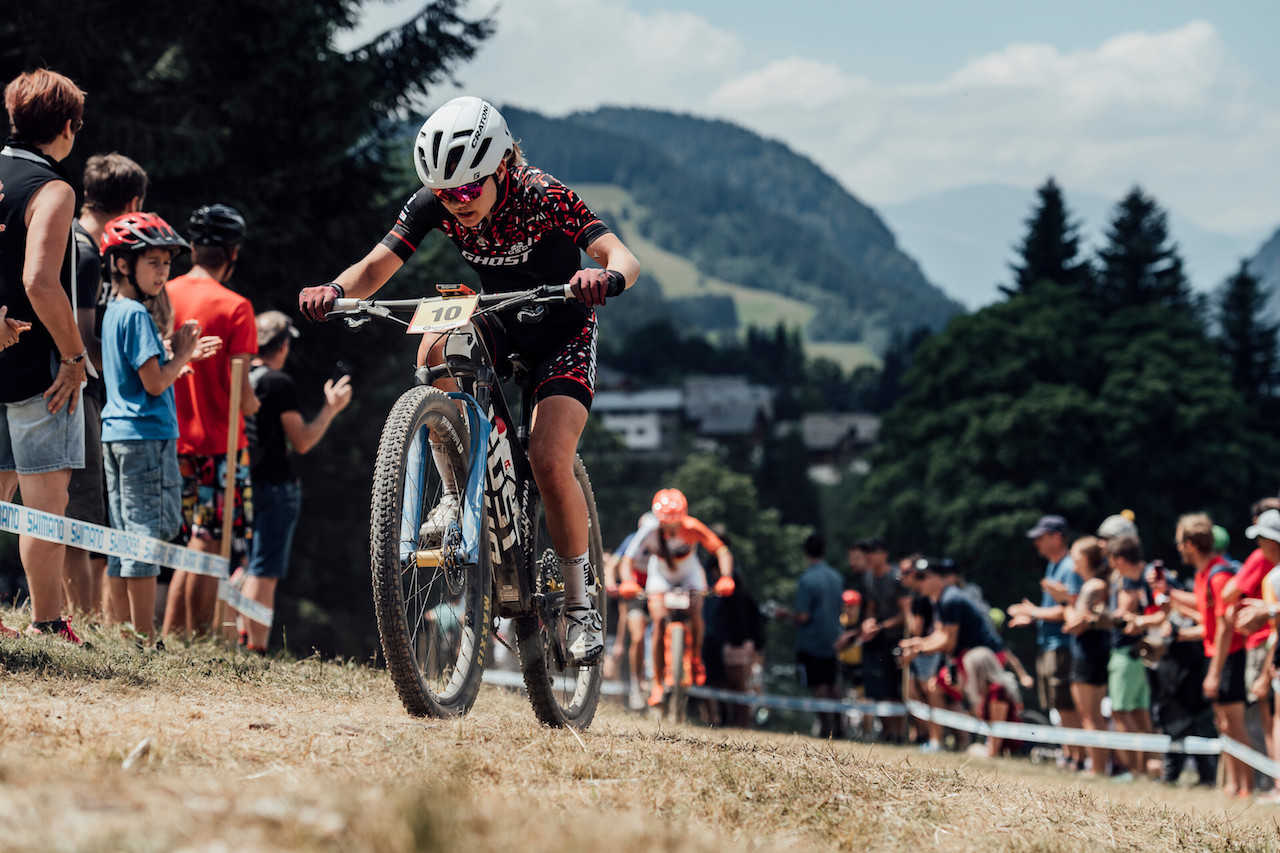 Sina Frei at the Les Gets World Cup cross country mountain bike race in France on 14th July 2019.