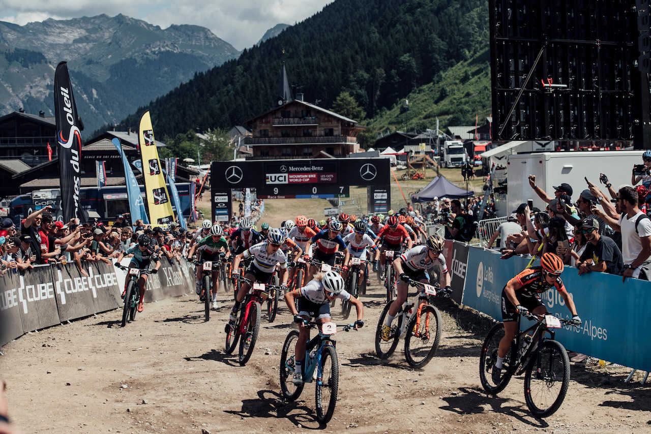 The womens race start at the Les Gets World Cup cross country mountain bike race in France on 14th July 2019.