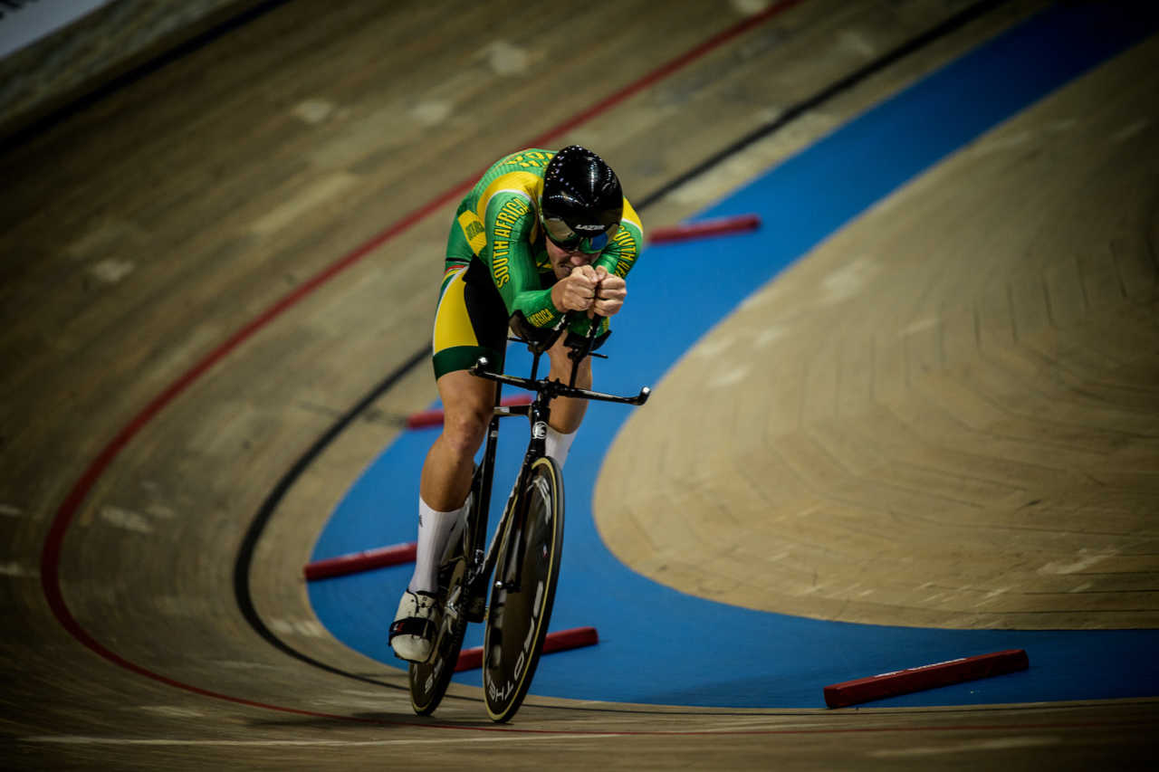 South African track cyclist Jean Spies in action at the World Championships in Poland in March 2019.