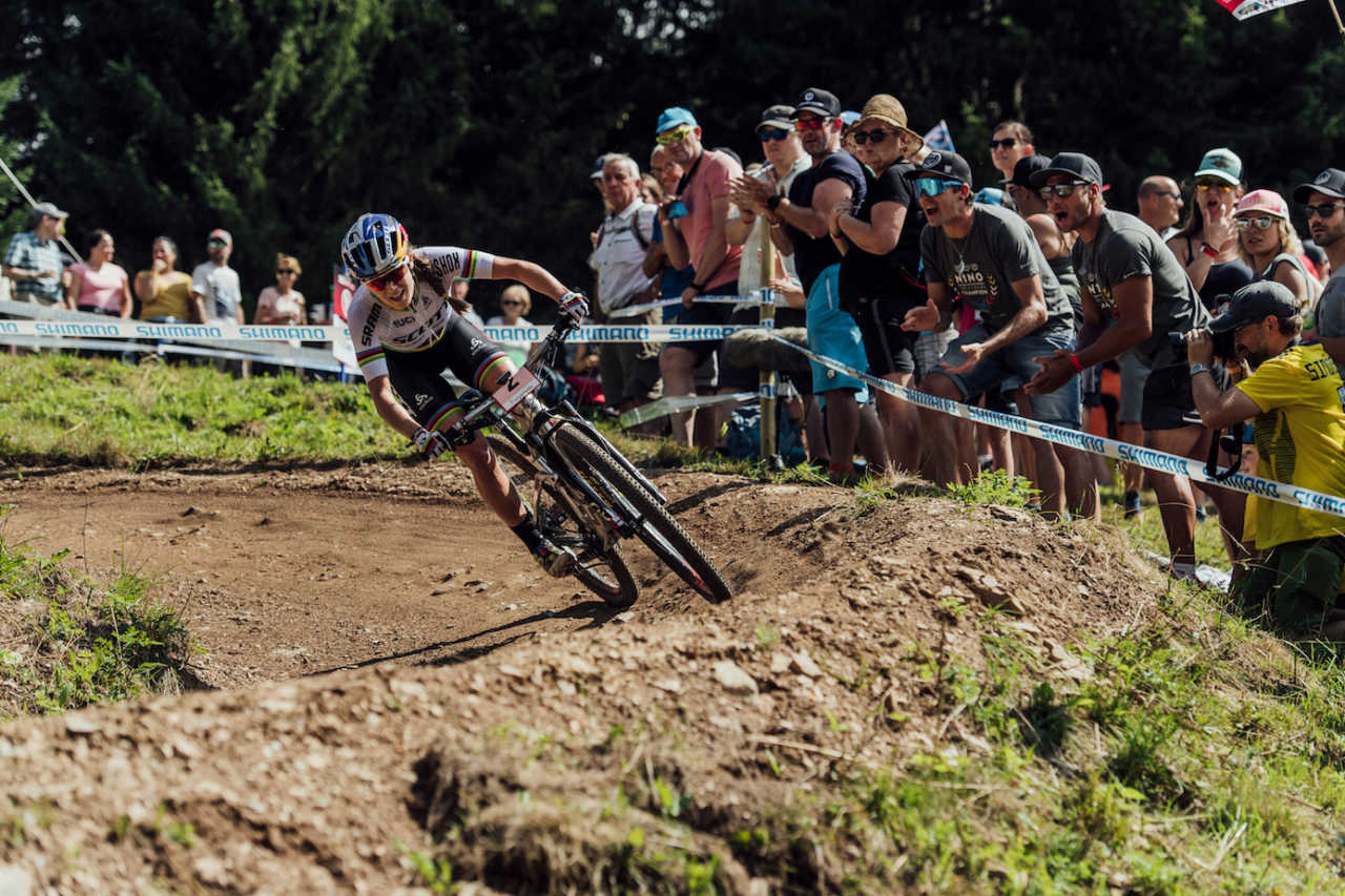 Kate Courtney performs at UCI XCO World Cup in Lenzerheide, Switzerland on August 11th, 2019