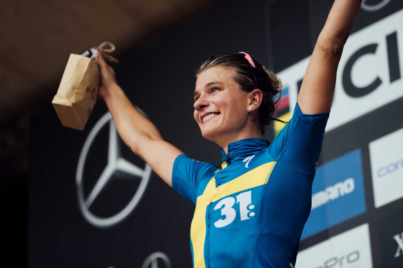 enny Rissveds celebrates at UCI XCO World Cup in Lenzerheide, Switzerland on August 11th, 2019