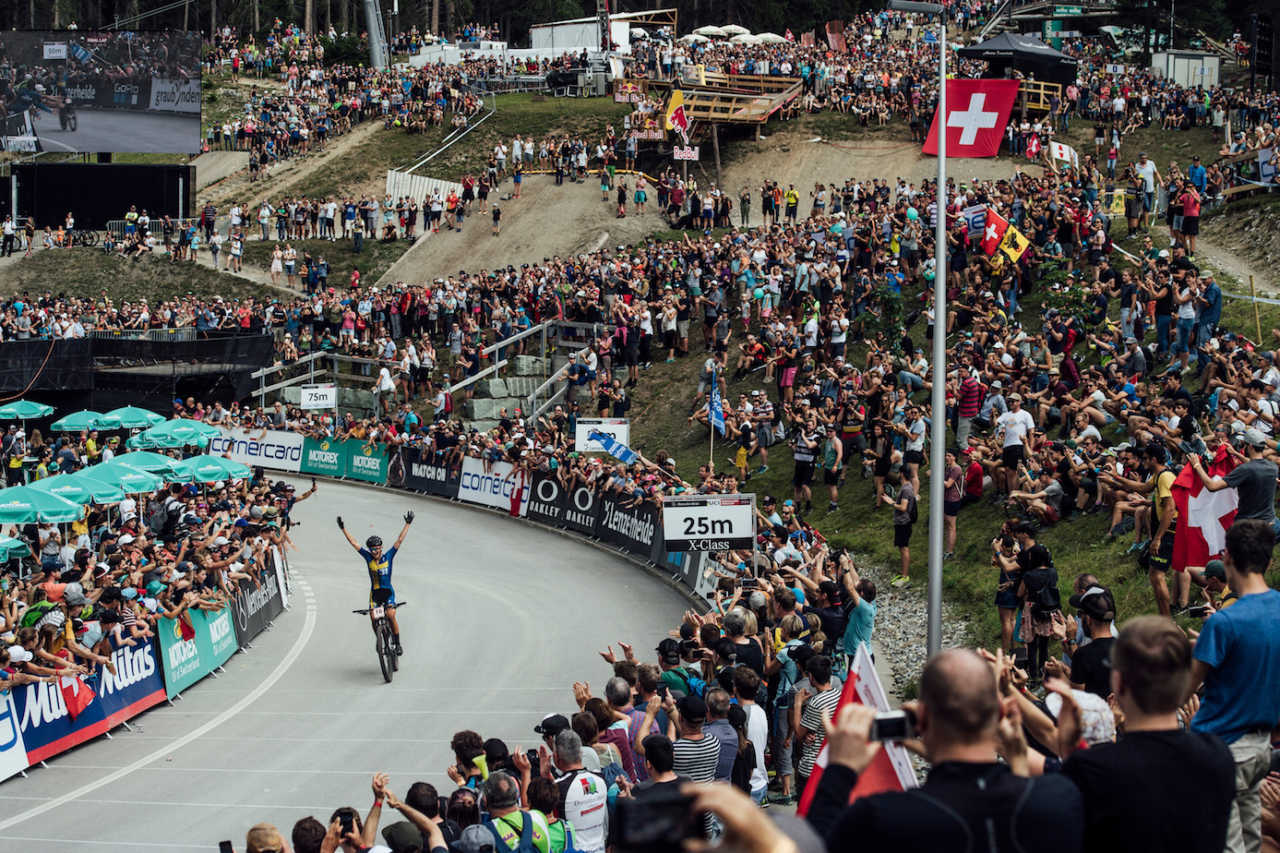 Jenny Rissveds performs at UCI XCO World Cup in Lenzerheide, Switzerland on August 11th, 2019
