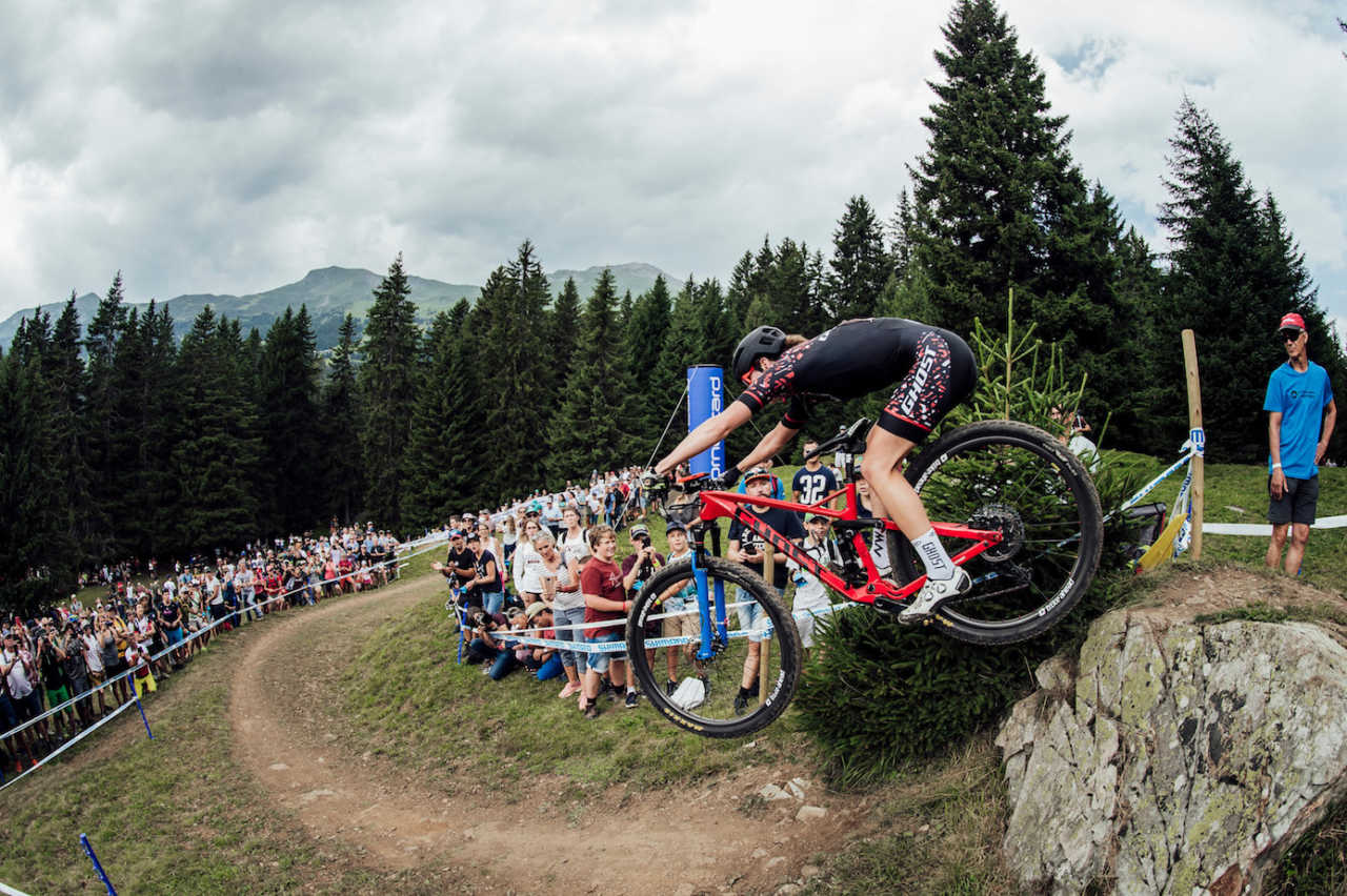 Competitors perform at UCI XCO World Cup in Lenzerheide, Switzerland on August 11th, 2019