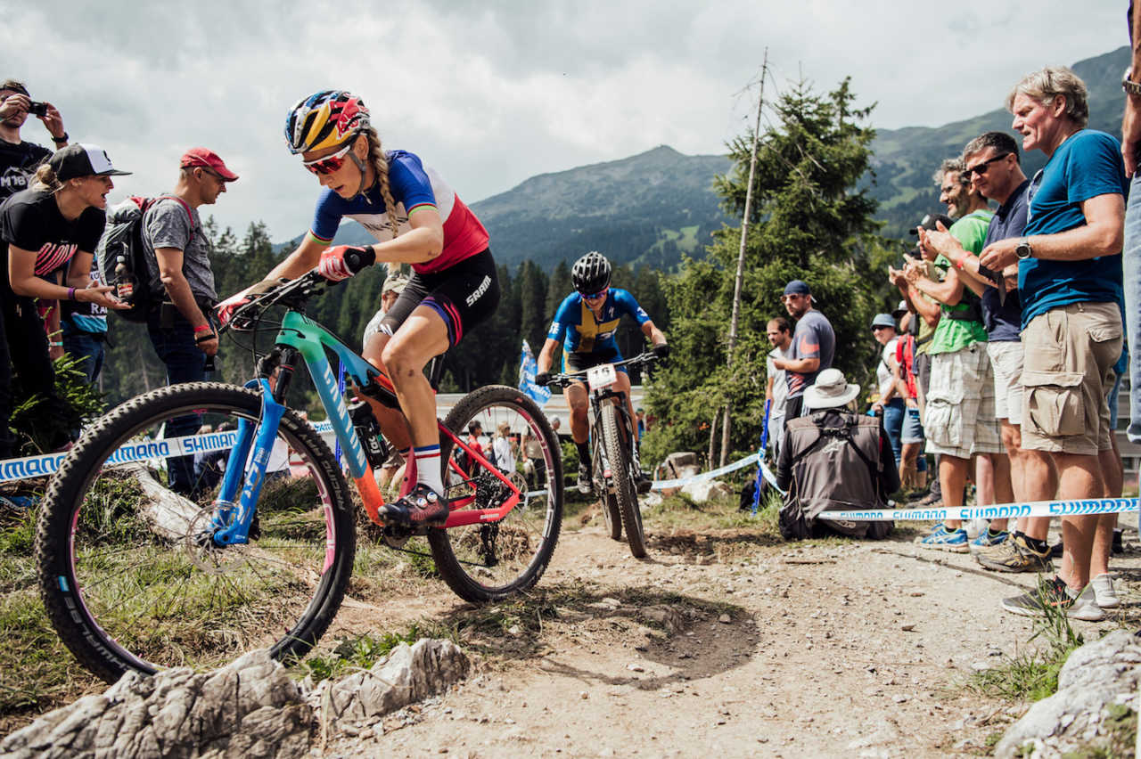 Pauline Ferrand Prevot and Jenny Rissveds  perform at UCI XCO World Cup in Lenzerheide, Switzerland on August 11th, 2019