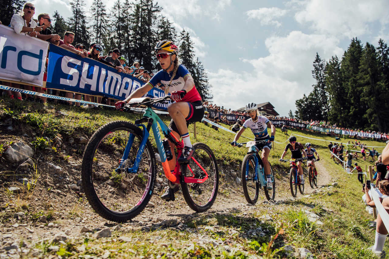 Competitors perform at UCI XCO World Cup in Lenzerheide, Switzerland on August 11th, 201