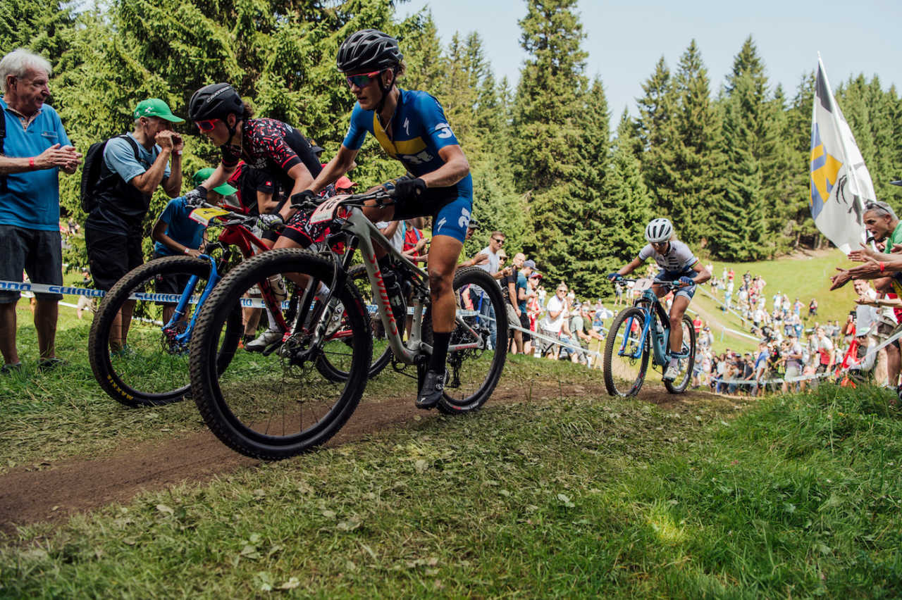 Competitors perform at UCI XCO World Cup in Lenzerheide, Switzerland on August 11th, 2019//