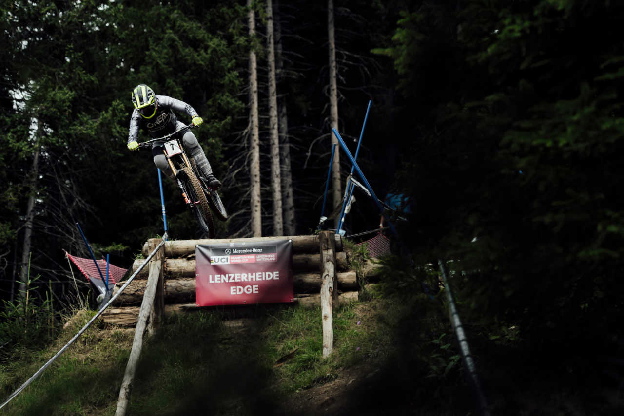 Greg Minnaar performs at UCI DH World Cup in Lenzerheide, Switzerland on August 10th,
