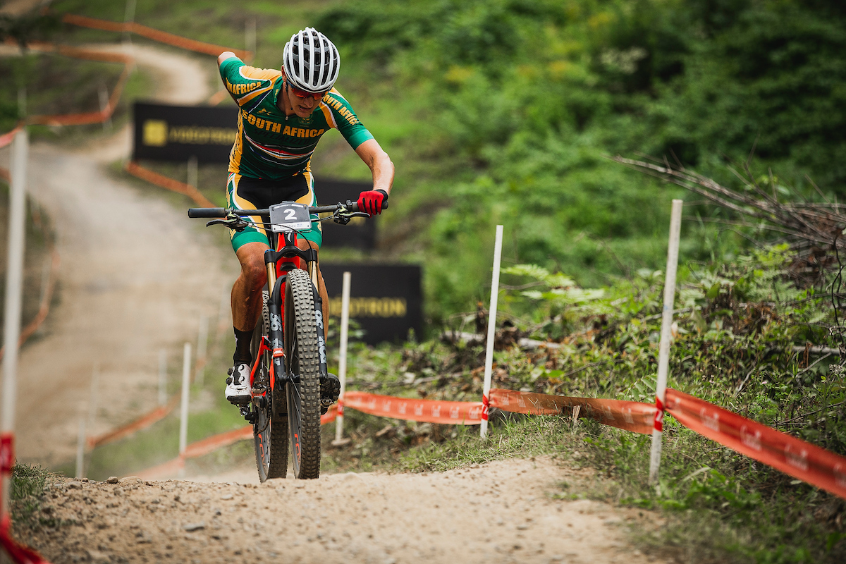 During the 2019 UCI MTB World Championships at Mont-Sainte-Anne, Canada.