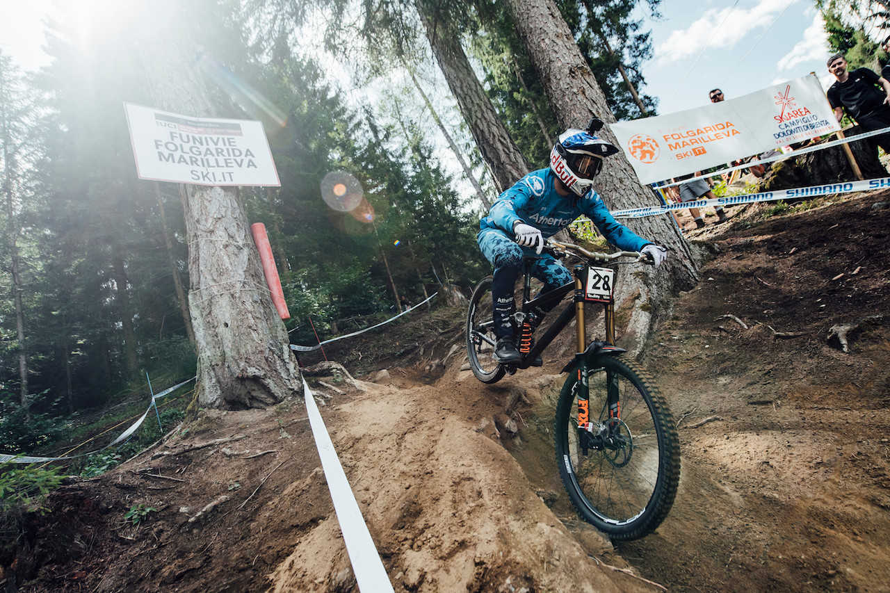 Gee Atherton performs at UCI DH World Cup in Val di Sole, Italy on August 3rd, 2019