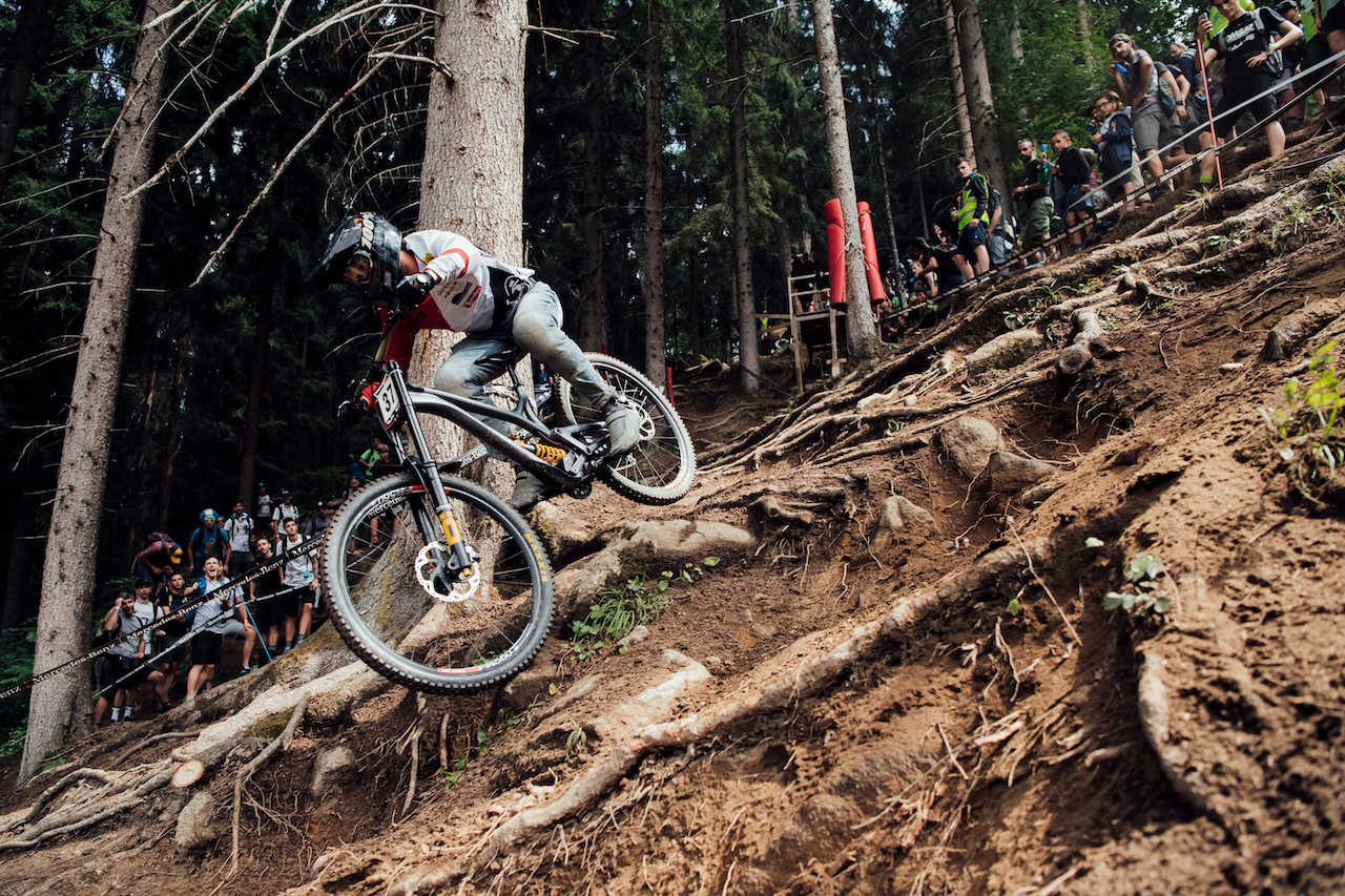 Johannes von Klebersberg performs at UCI DH World Cup in Val di Sole, Italy on August 3rd, 2019